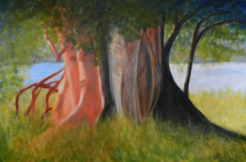 (CreativeWork) Fig Tree, Lake Awoonga, Boynedale by Anne Huth. Acrylic Paint. Shop online at Bluethumb.