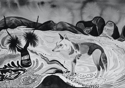 (CreativeWork) Dingo Dreams of the Dreamtime by Jessica Wade. watercolour. Shop online at Bluethumb.