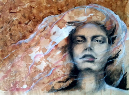 (CreativeWork) Her Strength and Love will Draw You In by Lisa Gordon. mixed-media. Shop online at Bluethumb.