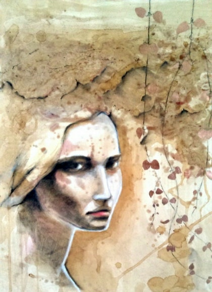 (CreativeWork) She Watches from the Shadaows by Lisa Gordon. drawing. Shop online at Bluethumb.