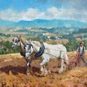 (CreativeWork) The Ploughing Team by Robert Todonai. oil-painting. Shop online at Bluethumb.