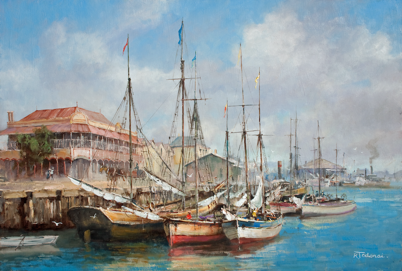 (CreativeWork) Lying Idle - Old Port Adelaide by Robert Todonai. oil-painting. Shop online at Bluethumb.