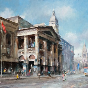 (CreativeWork) Town Hall - Melbourne by Robert Todonai. oil-painting. Shop online at Bluethumb.