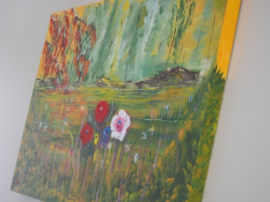(CreativeWork) Spring has sprung by Belinda McDonnell. Acrylic Paint. Shop online at Bluethumb.