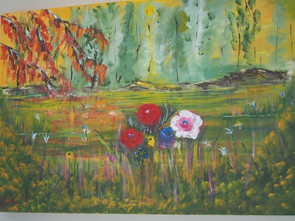 (CreativeWork) Spring has sprung by Belinda McDonnell. arcylic-painting. Shop online at Bluethumb.