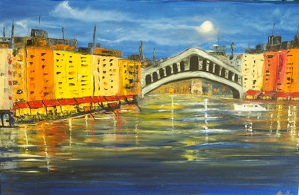 (CreativeWork) Romantic Waterway of Venice by Belinda McDonnell. oil-painting. Shop online at Bluethumb.