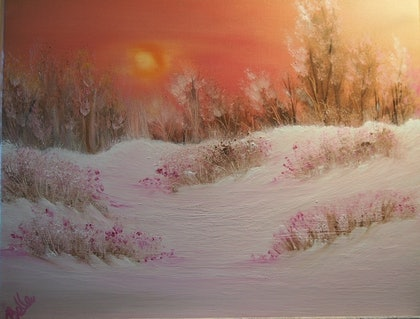 (CreativeWork) Pink Snow Valley by Belinda McDonnell. oil-painting. Shop online at Bluethumb.