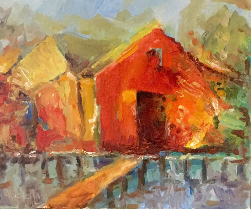 (CreativeWork) Red Boat Shed by Robert Abrahams. oil-painting. Shop online at Bluethumb.