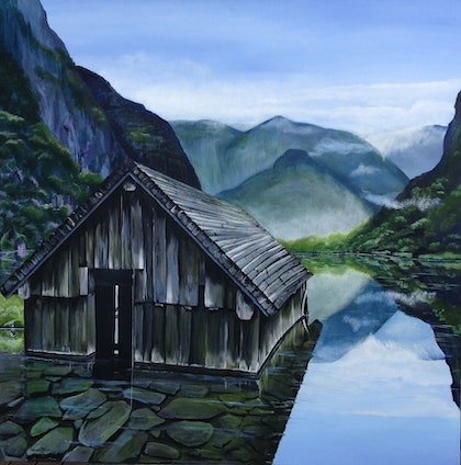 (CreativeWork) Seclusion by Merrin Jeff. oil-painting. Shop online at Bluethumb.