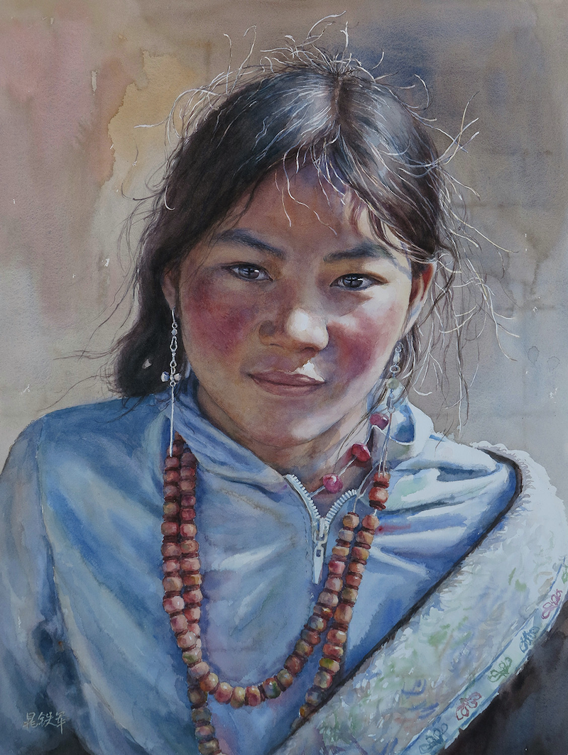 (CreativeWork) A Tibetan Girl by Richard(Tiejun) Chao. watercolour. Shop online at Bluethumb.