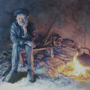 (CreativeWork) A Waiting Father by Richard(Tiejun) Chao. watercolour. Shop online at Bluethumb.