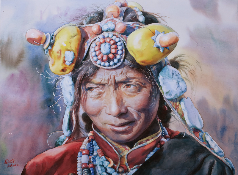 (CreativeWork) Tibetan Sunshine by Richard(Tiejun) Chao. watercolour. Shop online at Bluethumb.