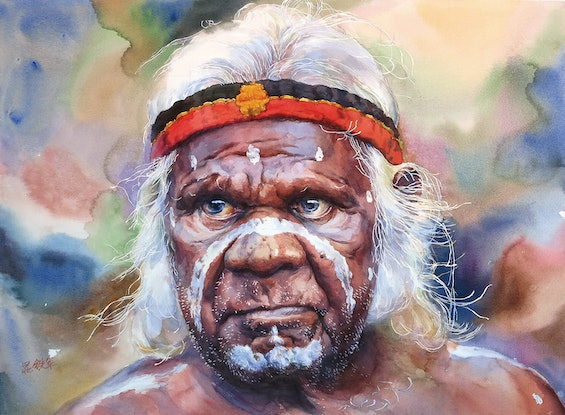 (CreativeWork) An Aboriginal Man by Richard(Tiejun) Chao. Watercolour Paint. Shop online at Bluethumb.
