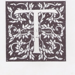 (CreativeWork) Letter T original ink Drawing  by Donna Huntriss. drawing. Shop online at Bluethumb.