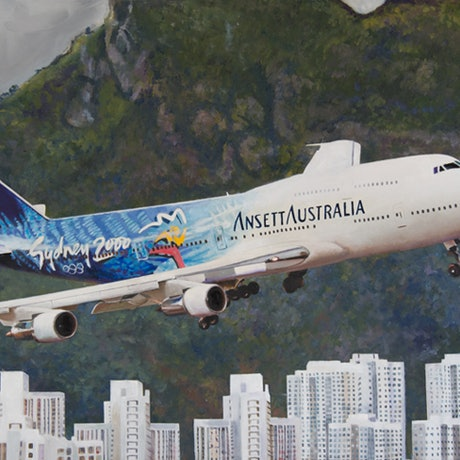 (CreativeWork) Print - Ansett 747 Rounding the Checkerboard at Hong Kong by Rob Kennedy. Print. Shop online at Bluethumb.