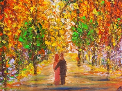 (CreativeWork) Lover's Walk by Belinda McDonnell. oil-painting. Shop online at Bluethumb.