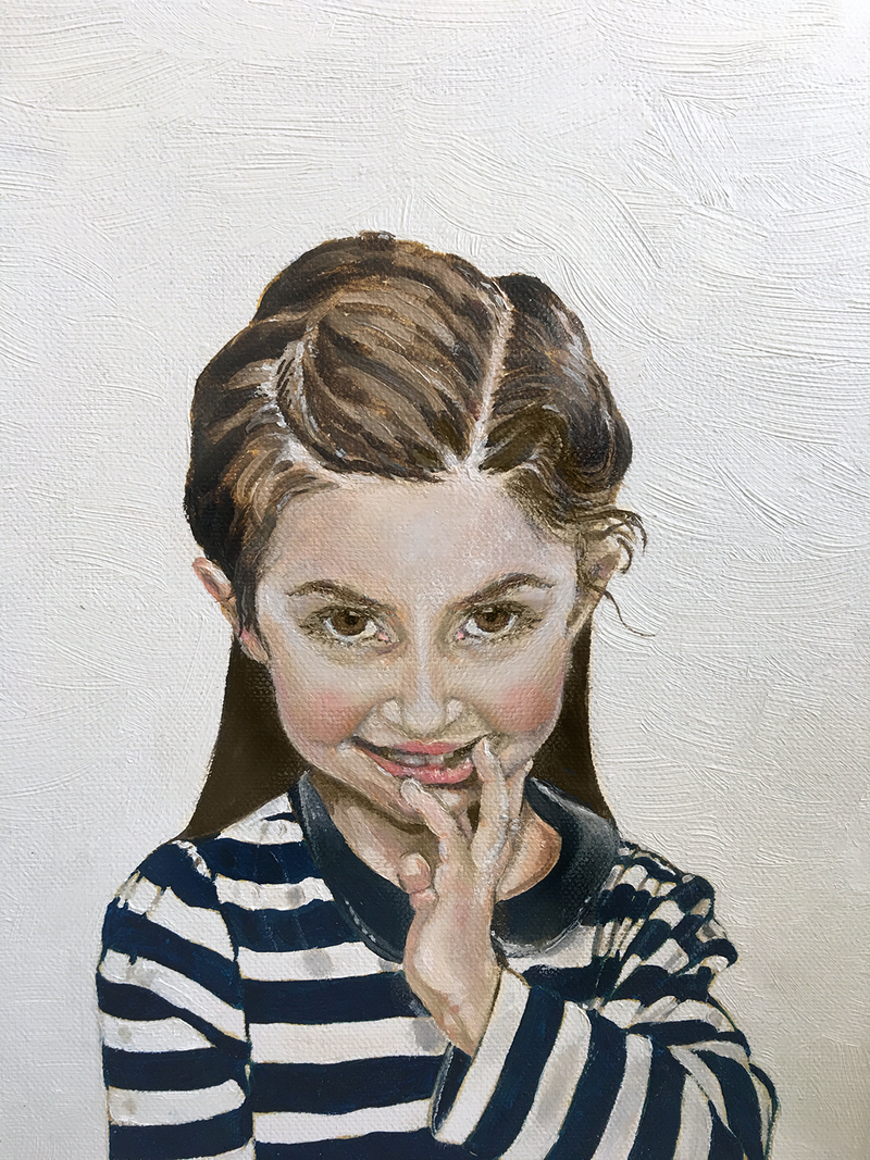 (CreativeWork) Isabelle - part of the Cheeky Monkeys series by Donna Christie. oil-painting. Shop online at Bluethumb.