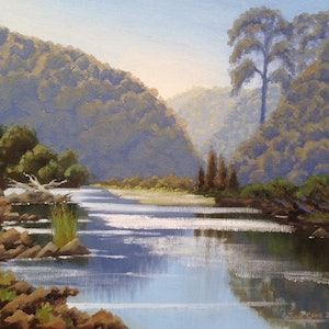 (CreativeWork) Clarence River Park by Julie Cane. oil-painting. Shop online at Bluethumb.