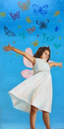 (CreativeWork) Butterflies by Leah Mariani. Oil Paint. Shop online at Bluethumb.