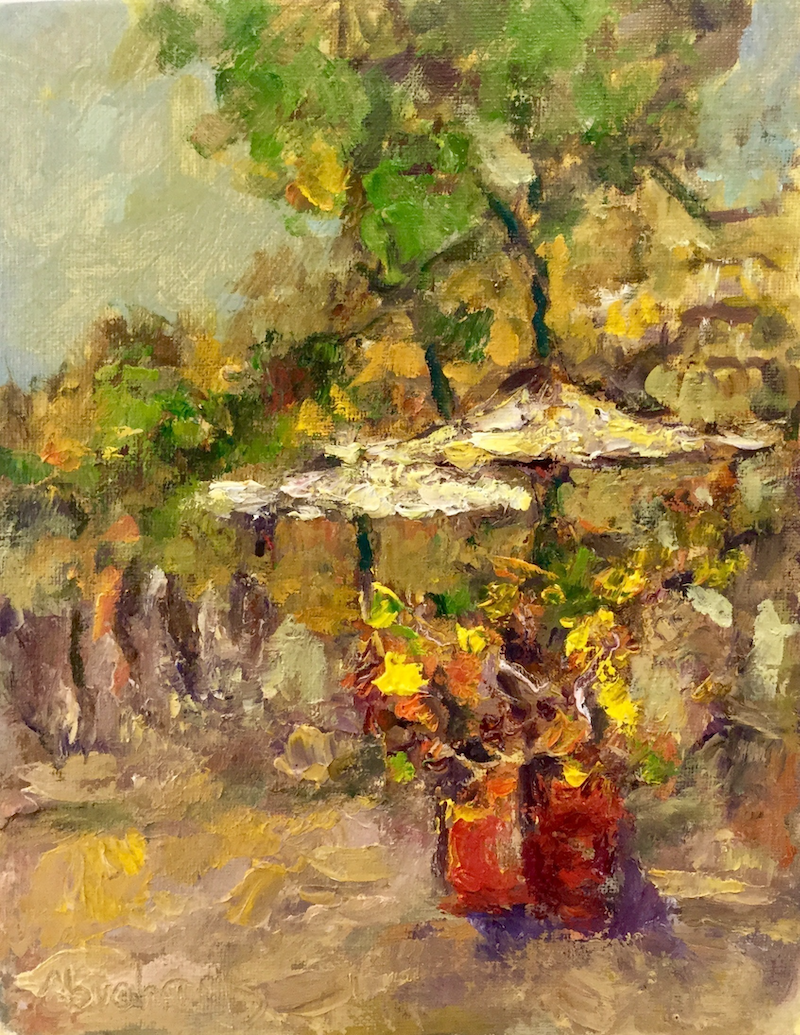 (CreativeWork) Flower Stall by Robert Abrahams. oil-painting. Shop online at Bluethumb.