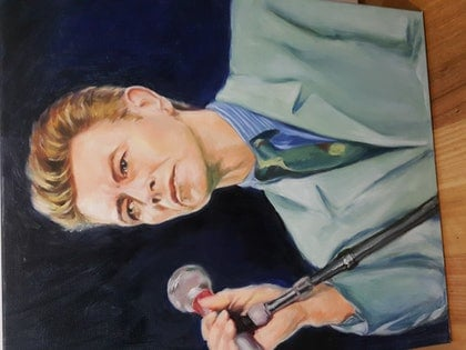 """(CreativeWork) """"BOWIE,"""" THE ICONIC COLLECTION. by Cissy Z. oil-painting. Shop online at Bluethumb."""