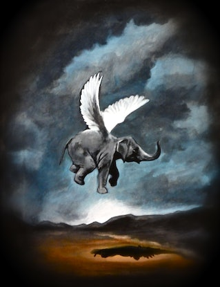 (CreativeWork) Flying Elephant  Ed. 2 of 2 by Ross Morgan. #<Filter:0x00007f76e4ce7d10>. Shop online at Bluethumb.