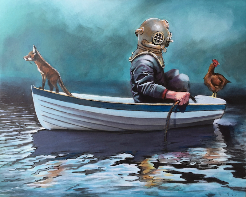(CreativeWork) The Diver, The Chicken, and The Fox ed. 2 of 250. by Ross Morgan. print. Shop online at Bluethumb.