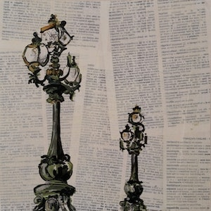 (CreativeWork) Twin Lamp Posts by Nicole Hunt. mixed-media. Shop online at Bluethumb.