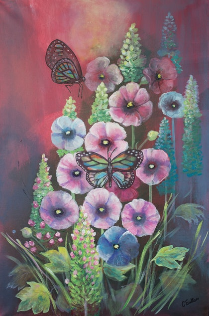(CreativeWork) Flowers & Butterflies by Cherilyn Sutton. arcylic-painting. Shop online at Bluethumb.