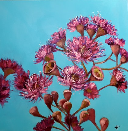 (CreativeWork) Pink Gum Blossoms Oil Painting by Chris Hobel. oil-painting. Shop online at Bluethumb.