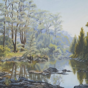 (CreativeWork) Running Creek by Julie Cane. oil-painting. Shop online at Bluethumb.