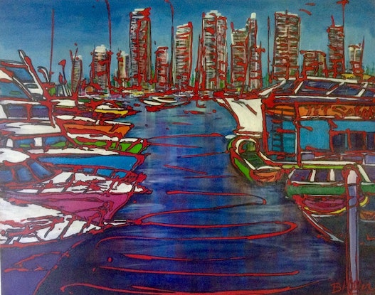 (CreativeWork) Harbourside by Bev Miller. Acrylic Paint. Shop online at Bluethumb.