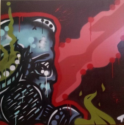(CreativeWork) war is near by T Dot. oil-painting. Shop online at Bluethumb.