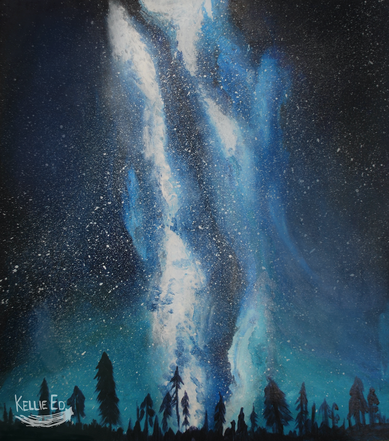 (CreativeWork) Northern Lights by kellie brace. arcylic-painting. Shop online at Bluethumb.