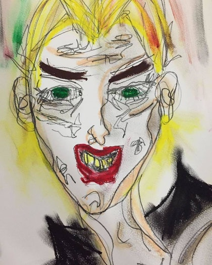 (CreativeWork) Punky Paul by Zazie Manson. mixed-media. Shop online at Bluethumb.