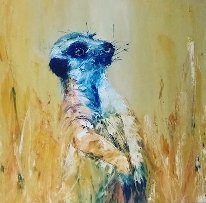(CreativeWork) Meerkats - Strike a pose - 1 by Angie Aubert. oil-painting. Shop online at Bluethumb.