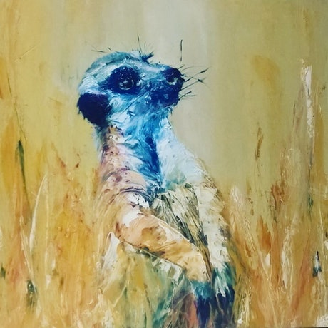 (CreativeWork) Meerkats - Strike a pose - 1 by Angie Aubert. Oil Paint. Shop online at Bluethumb.