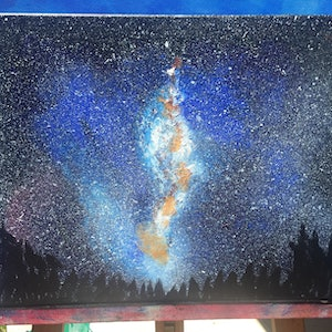 (CreativeWork) Stars and Wonder by kellie brace. arcylic-painting. Shop online at Bluethumb.