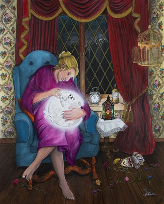 (CreativeWork) Me and Baby Moon by Chelle Destefano. Acrylic Paint. Shop online at Bluethumb.