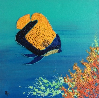 (CreativeWork) Majestic angelfish by Marilyn Townsend. mixed-media. Shop online at Bluethumb.