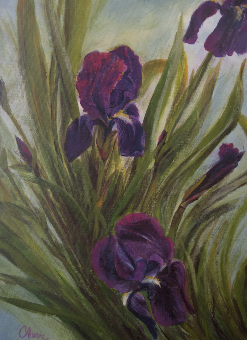 (CreativeWork) Winter Iris by Cory Acorn. arcylic-painting. Shop online at Bluethumb.