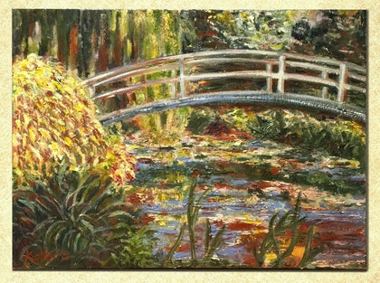(CreativeWork) Oil Painting inspired by Monet's Water Garden and Bridge, 40x30 cm, Originial by Susan Kotler. oil-painting. Shop online at Bluethumb.