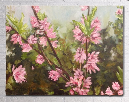 (CreativeWork) Spring Blossoms, a highly textured painting by Susan Kotler. oil-painting. Shop online at Bluethumb.