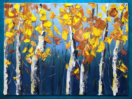 (CreativeWork) Aspen Twilight, a highly textured painting by Susan Kotler. oil-painting. Shop online at Bluethumb.