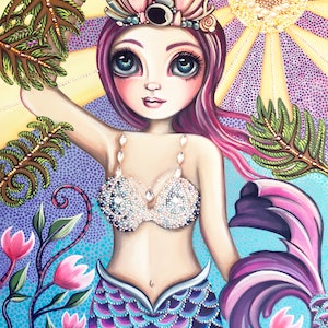 (CreativeWork) Sunkissed Mermaid by Jaz Higgins. arcylic-painting. Shop online at Bluethumb.
