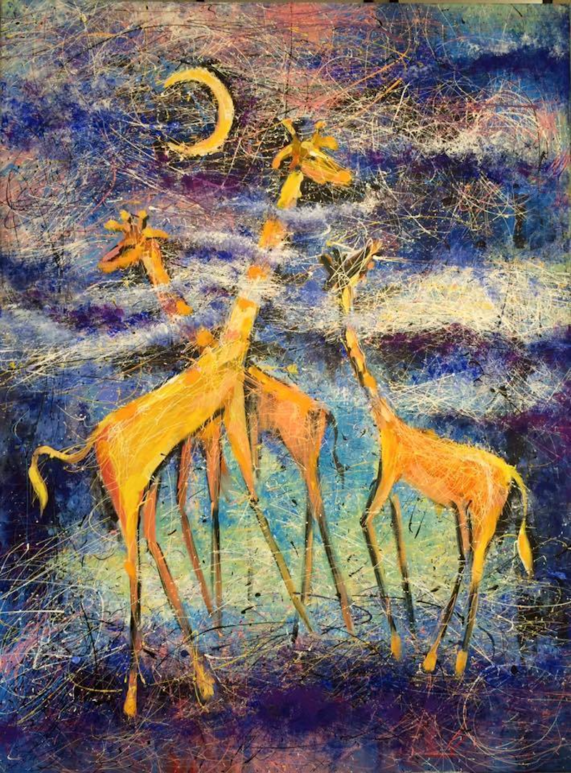 "(CreativeWork) "".. far, far away on the Lake of Chad wanders a gentle giraffe..."" by Valentyna Crane. Acrylic Paint. Shop online at Bluethumb."