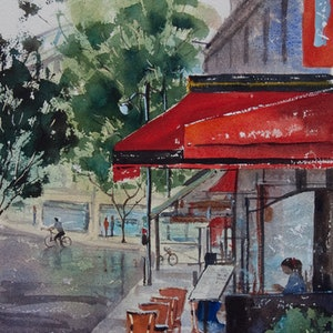 (CreativeWork) Paris Street Cafe by Cheryl Bruce. watercolour. Shop online at Bluethumb.