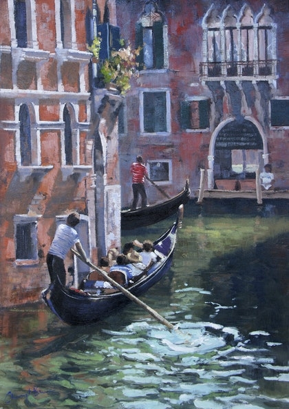 (CreativeWork) Venice Canals by Cheryl Bruce. oil-painting. Shop online at Bluethumb.