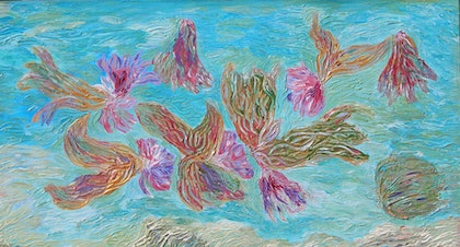 (CreativeWork) Water Fairies by Kim Sayers. arcylic-painting. Shop online at Bluethumb.