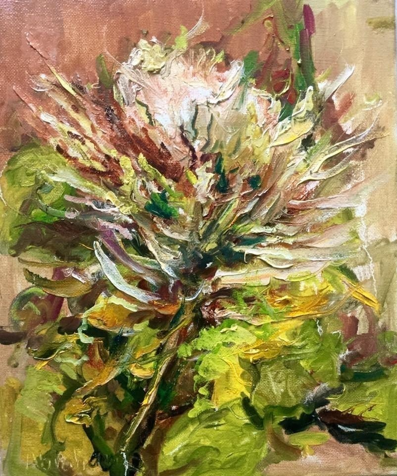 (CreativeWork) Protea flower by Robert Abrahams. oil-painting. Shop online at Bluethumb.
